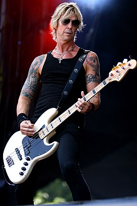 Duff McKagan was the band's bassist from 1985 until 1997, returning in 2016. 14-06-08 RiP Walking Papers Duff McKagan 2.JPG