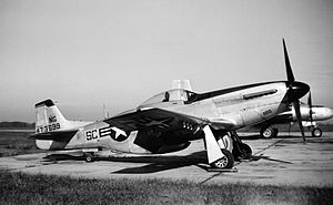"157th Fighter Squadron - North American P-51D Mustang, AF Ser. No. 44-73699, assigned to the 157th in 1946.  Note the ""NG"" on the tail, indicating the photo was taken before the Air National Guard was established in September 1947"