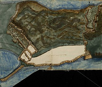 North Bastion, Gibraltar - Fortifications of Gibraltar in 1597.  The old mole, extending into the bay, is in the lower left.  The bastion is the square structure above the base of the mole at the angle between the bay wall and the northern land defenses (north is to the left in this map).