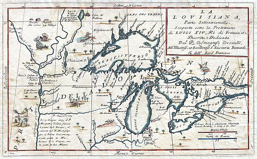 1696 Coronelli Map of the Great Lakes (Most Accurate Map of the Great Lakes in the 17th Century) - Geographicus - LaLouisiana-coronelli-1695