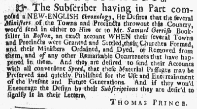 Request for historical information from Thomas Prince, 1728 1728 ThomasPrince NewEnglandWeeklyJournal Boston June3.png