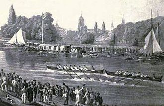Brasenose College Boat Club - A print of eights racing at Oxford in 1822, thought to depict the Brasenose College boat