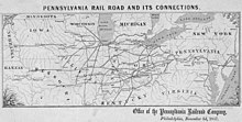 Map of Pennsylvania Railroad, November 3, 1857