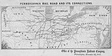 Carte de Pennsylvania Railroad, 3 novembre 1857
