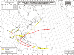 1895 Atlantic hurricane season - Image: 1895 Atlantic hurricane season map