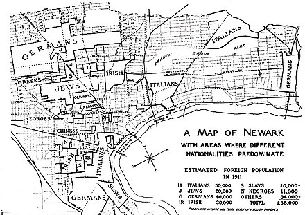 1910-era map of ethnic enclaves in Newark, New Jersey 1910-era ethnic map of Newark, New Jersey.jpg