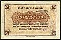 1918-12-01 Stadt Alfeld (Leine) Gutschein über 20 Mark ... am 1. Februar 1919 zur Einlösung ... J. C. König & Ebhardt in Hannover, Entwertet Stempel.jpg