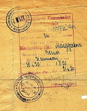 East Prussian plebiscite 1920 - 1920 Allied visa to exit Allenstein.