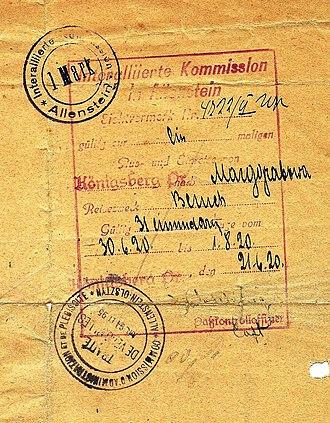 1920 East Prussian plebiscite - 1920 Allied visa to exit Allenstein.