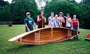 Strip-built - Canoe made by the 2003 Maryville High school boat building class.