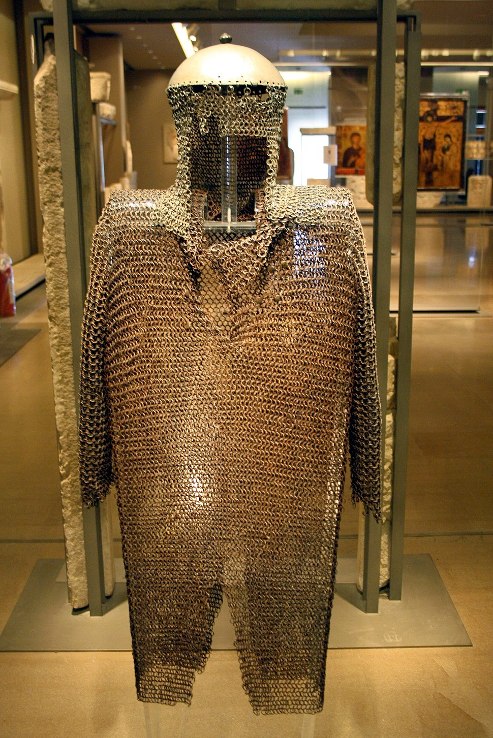 1954 - Byzantine Museum, Athens - Iron chain mail - Photo by Giovanni Dall'Orto, Nov 12 2009
