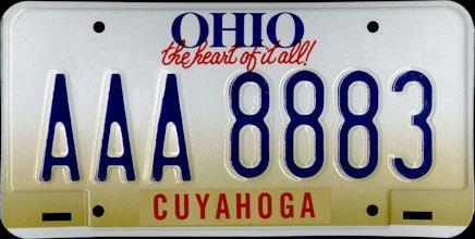 1996 Ohio License Plate
