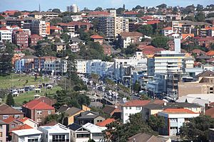 Bondi Beach - Bondi Beach commercial and residential area, showing Campbell Parade in the centre