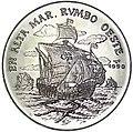 1 песо. Куба. 1990. 500 лет открытию Америки. Корабль Колумба плывёт на запад.jpg