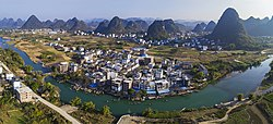 Rafts sailing down the Yulong River in Yangshuo, a county of Guilin