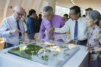 SMU School of Law - PM Lee Hsien Loong at the Kwa Geok Choo Law Library during the official launch of the School of Law building in 2017