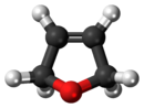 Ball-and-stick model of the 2,5-dihydrofuran molecule