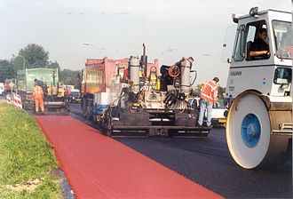 Road surface - Red surfacing for the bicycle lane in the Netherlands