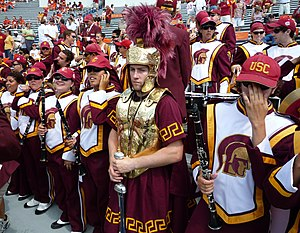 Spirit of Troy - The drum major of the Spirit of Troy wears a more elaborate uniform and conducts the band with a sword.