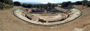 Rhodope (regional unit) - Image: 20100913 Ancient Theater Marwneia Rhodope Greece panoramic 2