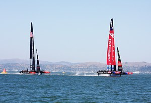2013 America's Cup - Team New Zealand leading Oracle Racing in the first race