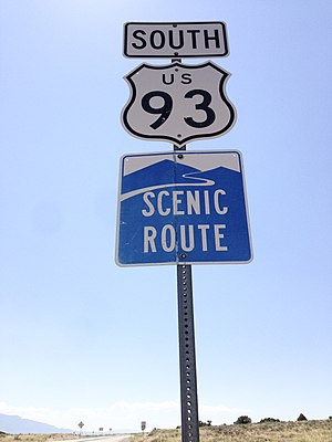 U.S. Route 93 in Nevada - Signage along the Scenic Byway section of U.S. Route 93