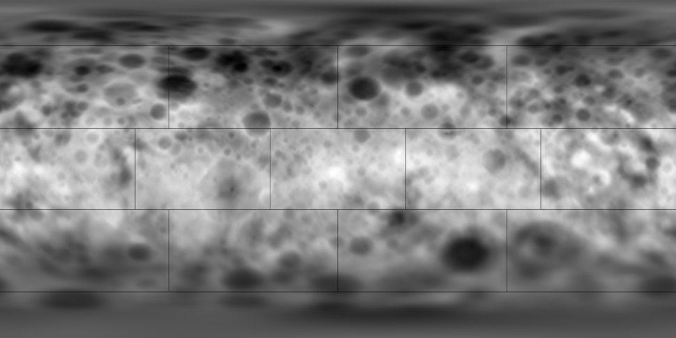 Topographic map of Ceres as of February 2015. Darker areas represent lower elevations, and brighter areas represent higher elevations. [view · talk]