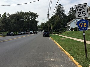 Hopewell, New Jersey - CR 518 is the primary roadway through Hopewell