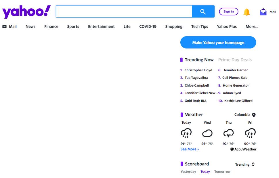 2019 Screenshot of Yahoo!