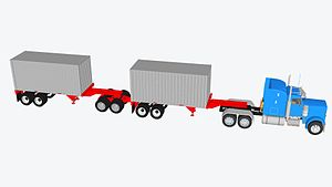 Long combination vehicle - 20 foot container double – 100,000 lbs GVWR