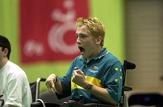 Australia at the 2000 Summer Paralympics - 221000 - Boccia Scott Elsworth action - 3b - Sydney 2000 match photo