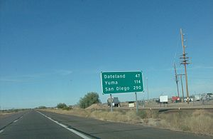 Interstate 8 - A sign displaying the mileages on I-8 westbound in Gila Bend