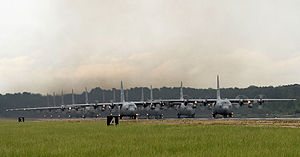 314th Operations Group - C-130 Herculeses lined up for takeoff at Little Rock Air Force Base