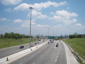 Ontario Highway 409 - Looking east on the 409 approaching the interchange with Martin Grove Road, after the 2009-10 reconstruction