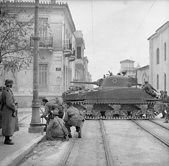 Dekemvriana - Sherman tanks and troops from the 5th (Scottish) Parachute Battalion, British 2nd Parachute Brigade together with their Greek allies, fighting against members of ELAS in Athens, 18 December 1944.