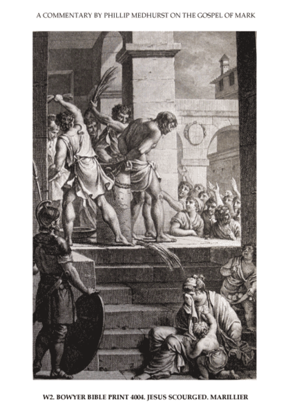 File:65 Mark's Gospel W. the Roman trial and mocking image 2 of 4. Jesus scourged. Marillier.png
