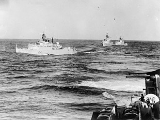 6th Frigate Squadron (United Kingdom) - HMS Undine leads ships of the 6th Frigate Squadron in line ahead on their passage to Gibraltar, for spring cruise, 27 January 1957 (IWM A 33691)