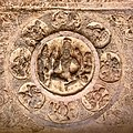 6th century Vishnu and Lakshmi on Cave 3 ceiling, Badami Hindu cave temple Karnataka.jpg