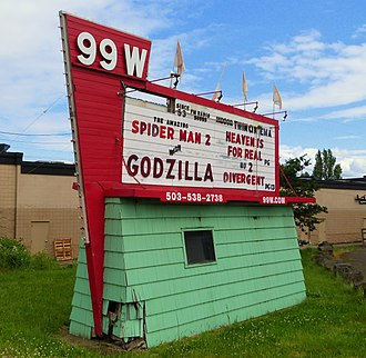 National Register of Historic Places listings in Yamhill County, Oregon - Image: 99W Drive In sign 1 Newberg Oregon