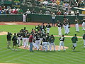 A's celebrate win over Red Sox 2010-07-21 2.JPG