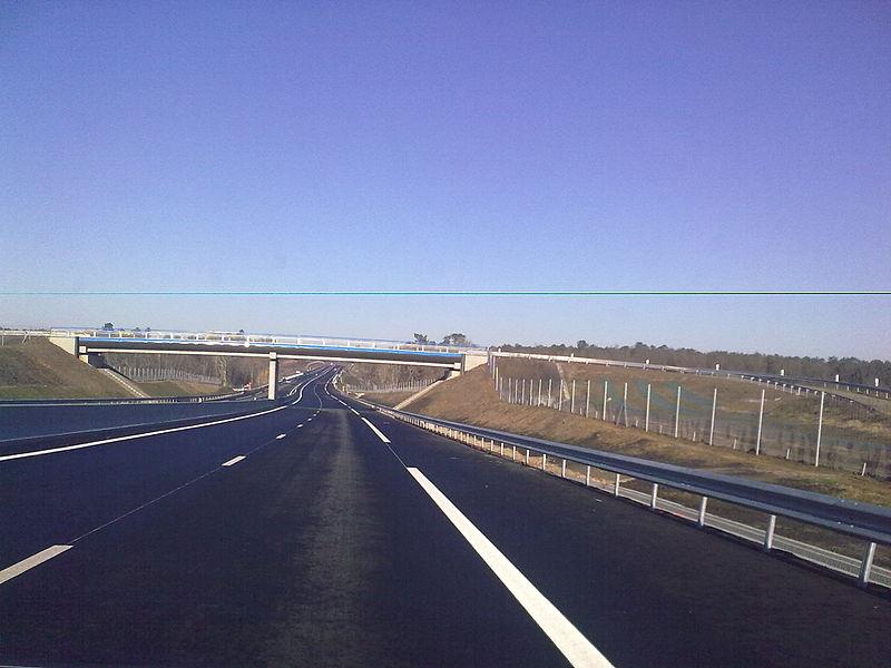 Autoroute française A65 en service, photo prise le dimanche 19 décembre 2010 (3 jours après la mise en service).