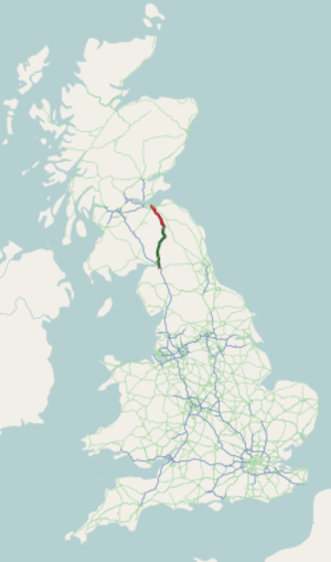 A7 road (Great Britain) - Image: A7 road map