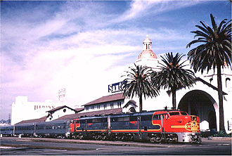 Santa Fe Depot (San Diego) - The San Diegan, pulled by a pair of back-to-back ALCO PA units, reaches the end of the line at San Diego's Union Station on October 26, 1963.