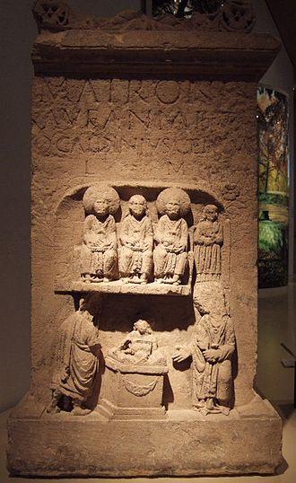 Matres and Matronae - The Aufanian Matronae (detail) from the Gallo-Roman temple site at Görresburg, Nettersheim (Rheinisches Landesmuseum Bonn)