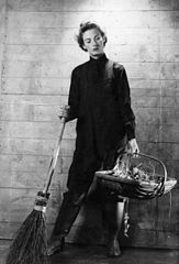 A Cecil Beaton portrait of a member of the Women's Royal Naval Service equipped for gardening duties. A9742.jpg