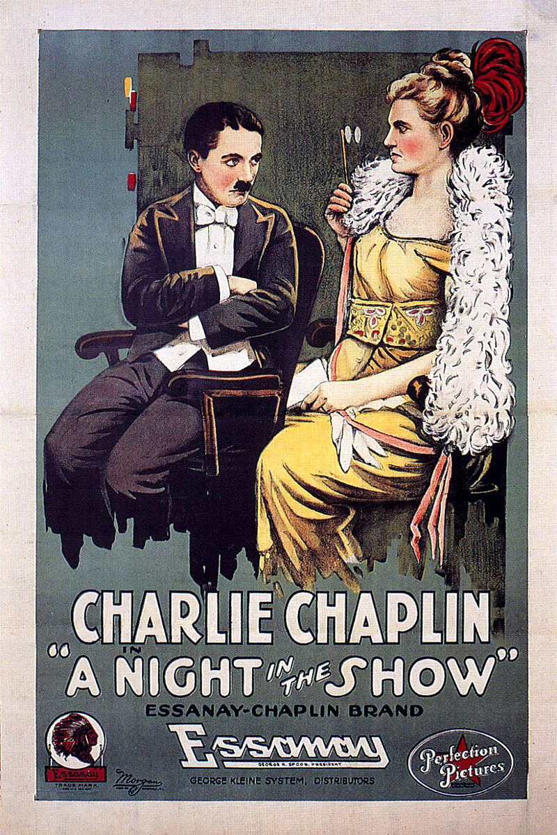 "Cartel de ""A night in the show"" (1915), un cortometraje de Charles Chaplin."