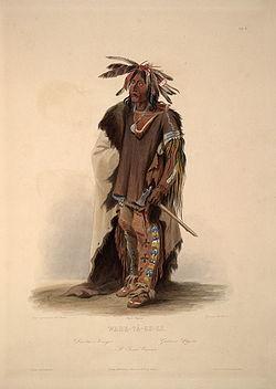 """Wahktageli (""""Gallant Warrior"""" [1]), a Yankton Sioux chief (Karl Bodmer)"""