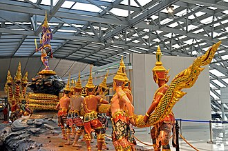 Puranas - The Puranas include cosmos creation myths such as the Samudra Manthan (churning of the ocean).  It is represented in the Angkor Wat temple complex of Cambodia, and at Bangkok airport, Thailand (above).