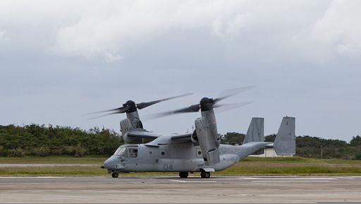 A U.S. Marine Corps MV-22B Osprey tiltrotor aircraft assigned to Marine Medium Tiltrotor Squadron (VMM) 262, Marine Aircraft Group 36, 1st Marine Aircraft Wing, III Marine Expeditionary Force prepares to depart 131112-M-PJ295-933