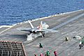 A U.S. Navy F-A-18C Hornet aircraft assigned to Strike Aircraft Test Squadron (VX) 23 takes off from the flight deck of the aircraft carrier USS Theodore Roosevelt (CVN 71) Nov. 16, 2013, in the Atlantic Ocean 131116-N-IE511-032.jpg